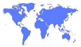 World Map. Simple World Map in Blue vector illustration