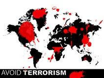 World map. Says avoid terrorism Stock Photos