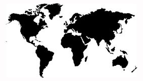World map. Detail of world map in black color Royalty Free Stock Photography