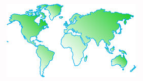 World map. Detail of world map in land green with water based blue Royalty Free Stock Images