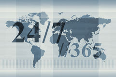 World Map. With 24/7 and //365 superimposed over the design Stock Photography