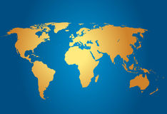 World Map. Map of the world on blue Royalty Free Stock Image