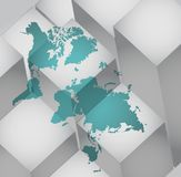 World map abstract background with various cubes. Illustration design Stock Photography