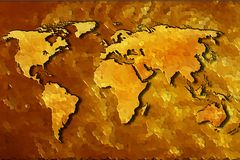 World map abstract gold background. Royalty Free Stock Photos