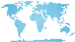 World map. Abstract map of the world made of 3d blue boxes Stock Image