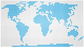 World map. Abstract map of the world made of 3d blue and white boxes Royalty Free Stock Image