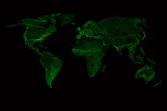 World map. Abstract vintage computer graphic of Stock Photography