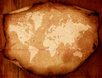 World map on aged paper Royalty Free Stock Image