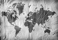 World map on aged paper. 2D art Stock Photo