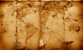 World map on aged paper. 2D art Royalty Free Stock Photo