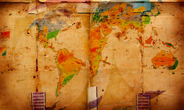 World map on aged paper. 2D art Royalty Free Stock Images