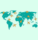 World map with air planes and trucks isolated on blue Royalty Free Stock Photos