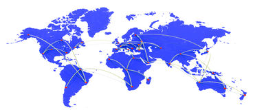 World map of air traffic Royalty Free Stock Photo