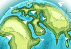 World map with aircraft paths. Vector illustration Royalty Free Stock Photo