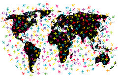World map airline flights Royalty Free Stock Images