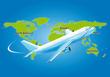 World map airplane Royalty Free Stock Images