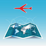 Airplane flight paths. World travel map of airplane flight paths royalty free illustration