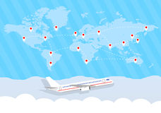 World map and airplane Stock Images