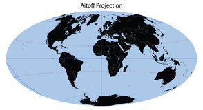 World Map (Aitoff Projection) Royalty Free Stock Photos