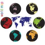 World map in all colors and Earth globes. Set of Earth globes and world map in all colors Stock Photos