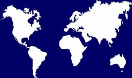 World map. With all the continents Asia, Africa, America, Australia, Europe Stock Photos