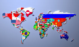 The world map with all states and their flags 3d illustration Stock Photography