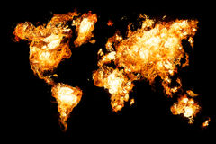 World map and all things related. World map on fire - dry land burning Royalty Free Stock Image