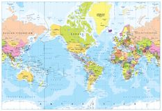 World Map - America in center - Bathymetry Stock Image