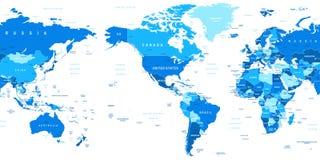 World Map America In Center Bathymetry Stock Vector
