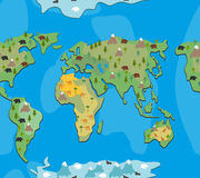World map with animals and trees seamless pattern. Background ge Stock Image