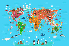 World map with animals. Vector illustration in Royalty Free Stock Photos