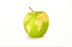 World map on an apple Stock Images