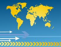 World map with arrows Stock Photo