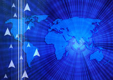 World map and arrows. Communication world Stock Photo