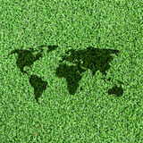 World map on Artificial Grass Field Landscape Stock Photos