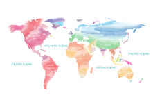 Colorful World Map artistic watercolor vector illustration