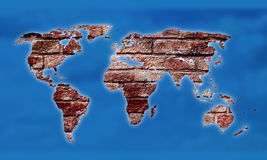 World Map as Brick Background Stock Photography