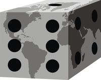 World map as cube. Isolated on the black background Royalty Free Stock Photos