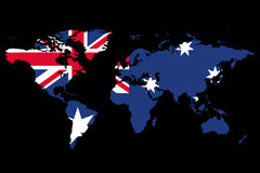 World Map Australia Theme. The world map draped in the flag of Australia Stock Photo