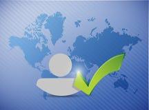 World map avatar check mark illustration Stock Photo