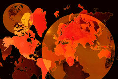 World Map Background. Conceptual globalized world background with world maps and globes Stock Illustration