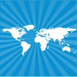 World map background. An illustration of world map background with sunburst effect Royalty Free Stock Image