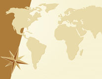 World map background. World map with compass rose template Stock Photos
