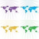 World map background. An illustration of world map background with sunburst effect Royalty Free Stock Photography