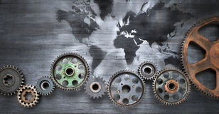 Business World Map Global Cogs Background Royalty Free Stock Images