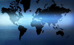 World Map Background. A world map with a blue beam and metallic tones Stock Photography