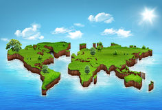 World map background. With grass field Royalty Free Stock Images