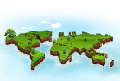 World map background. With grass field Stock Images
