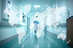 World map on the background of the hospital corridor. Concept of Stock Images