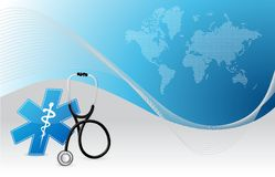 Map background internet concept with a Stethoscope Stock Photo